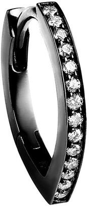Repossi 18kt black gold Antifer half pave diamond huggie