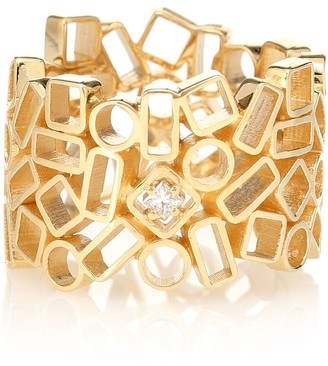 Suzanne Kalan Mosaic Eternity 18kt yellow gold and diamond ring