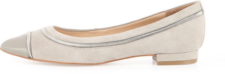 Pour La Victoire Ritz Patent/Suede Pointy Flat, Dove