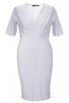 Quiz Curve Grey Pleated V Neck Midi Dress