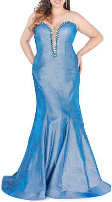 Mac Duggal Plus Size Strapless Rhinestone-Embellished Metallic Brocade Mermaid Gown