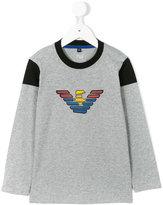 Armani Junior long sleeved logo t-shirt - kids - Cotton - 4 yrs