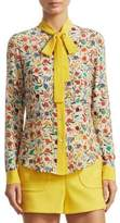 RED Valentino Leaves and Polka Dot Silk Button-Down Shirt