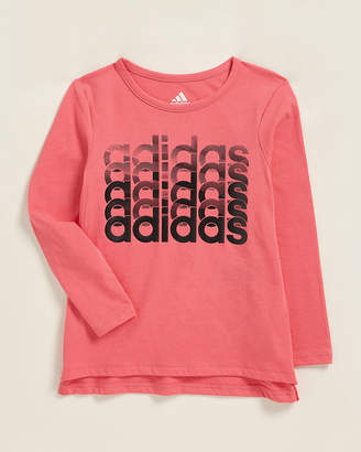 adidas Toddler Girls) Linear Logo Thank You Short Sleeve Tee