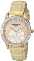 Akribos XXIV Women's AK805RG Quartz Movement Watch with Pink Mother of Pearl Dial and Beige Strap