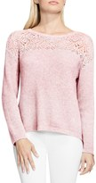 Vince Camuto Pointelle Yoke Sweater (Petite)
