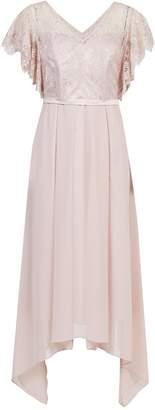 Dorothy Perkins Womens **Showcase Petite Blush 'Charlotte' Lace Bodice Midi Skater Dress
