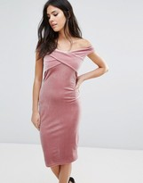 Love Bandeau Cross Front Velvet Midi Dress