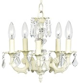 The Well Appointed House Ivory Five Arm Stacked Glass Ball Chandelier