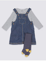 Marks and Spencer 3 Piece Bodysuit & Denim Pinny with Tights Outfit