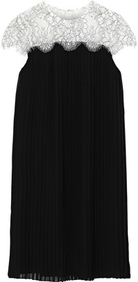 Mikael Aghal Lace-paneled Pleated Chiffon Dress