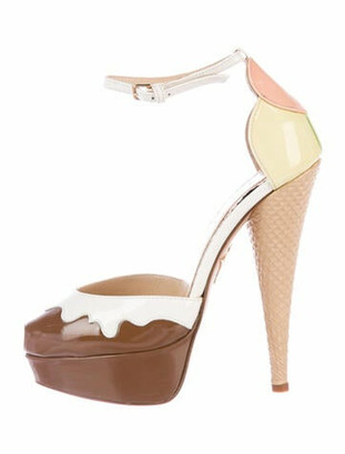 Charlotte Olympia Patent Leather Colorblock Pattern D'Orsay Pumps