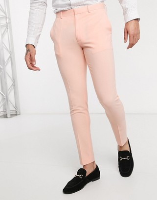 ASOS DESIGN super skinny suit trousers in neon peach in four way stretch