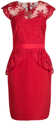 Marchesa Scarlet Red Embroidered Lace Peplum Dress M