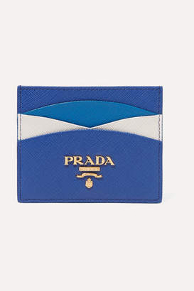Prada Color-block Textured-leather Cardholder - Blue