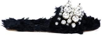 Miu Miu Black Fur Flats