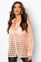 boohoo flannel Organza Button Through Shirt