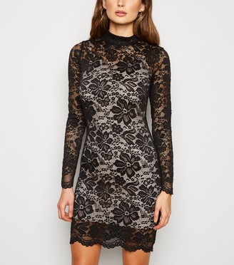 New Look Carpe Diem Lace High Neck Dress