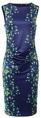 Dorothy Perkins Womens *Izabel London Navy Floral Print Ruched Dress