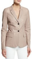 Agnona Classic Leather Blazer, Cipria Blush