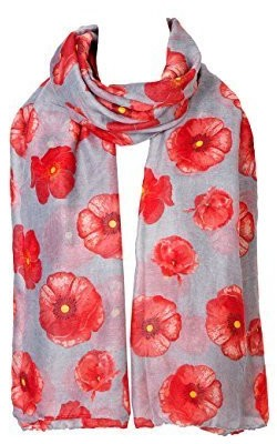 World of Shawls Ladies Womens Colorful Long Soft and Warm Poppy Flower Print Scarf Sarong (Grey)
