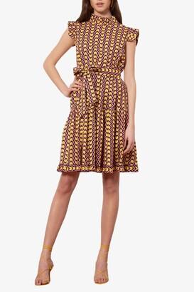 Donna Morgan Geo Printed Ruffle Cap Sleeve Dress