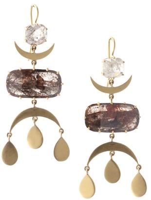 Sylva & Cie Maya 18K Yellow Gold & Rough-Cut Diamond Moon Chandelier Earrings