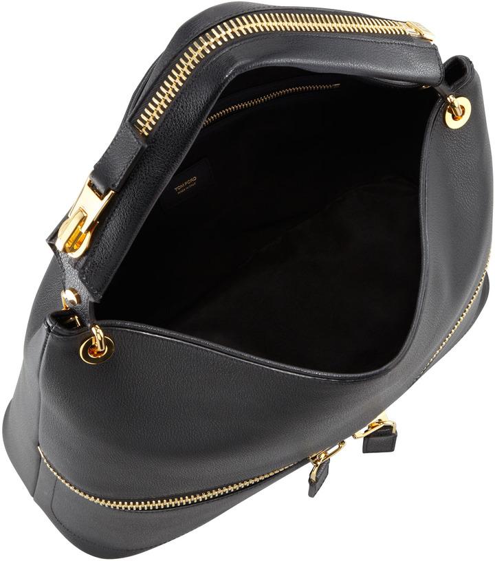 Tom Ford Nina Black Calfskin Hobo Bag