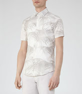 Reiss Reiss Mccawly - Palm Print Shirt In Brown