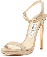 Jimmy Choo Claudette Shimmery Leather 120mm Sandal, Nude