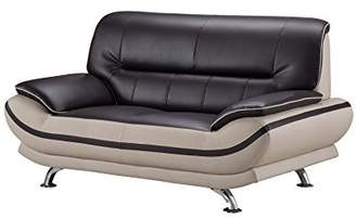 American Eagle Furniture Mason Upholstered Bonded Leather Loveseat with Added Base Support and Pillow Top Armrests