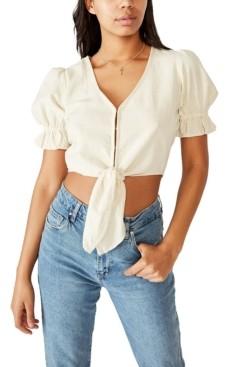 Cotton On Tie Front Wrap Blouse
