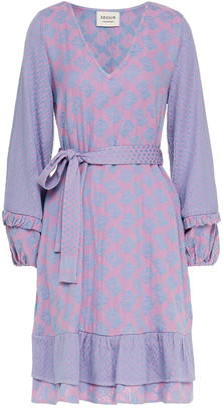 Cecilie Copenhagen Liv Belted Ruffle-trimmed Cotton-jacquard Dress