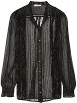 Zimmermann Mischief ruffled striped silk-blend georgette shirt
