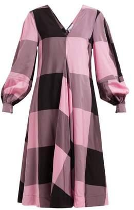 Ganni Checked Chiffon Dress - Womens - Pink Multi