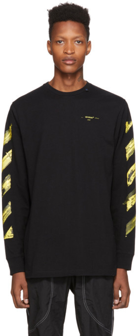 Off-White SSENSE Exclusive Black and Yellow Painted Arrows Long Sleeve T-Shirt