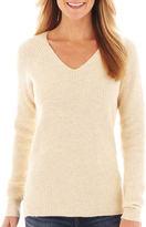 JCPenney jcp Long-Sleeve V-Neck Shaker Sweater