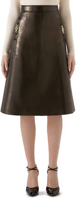 Gucci Leather A-Line Skirt
