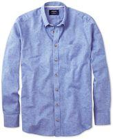 Charles Tyrwhitt Slim Fit Mid Blue Cotton Casual Shirt Single Cuff Size XS
