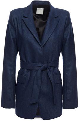 Sandro Belted Melange Wool-blend Blazer