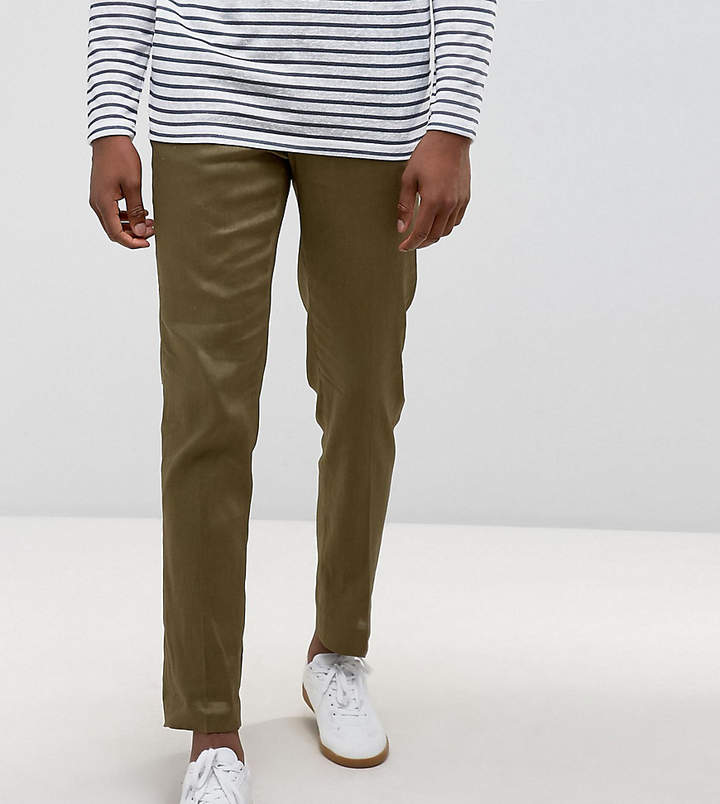 Asos Design Tall Skinny Cropped Smart Pants In Khaki Linen Mix