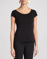 Eileen Fisher Silk-Jersey Cap-Sleeve Tee, Women's