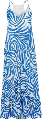 Iris & Ink Ruellia Gathered Printed Twill Maxi Dress