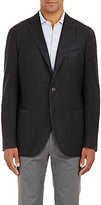 Boglioli Men's Herringbone Travel Jacket-BLACK