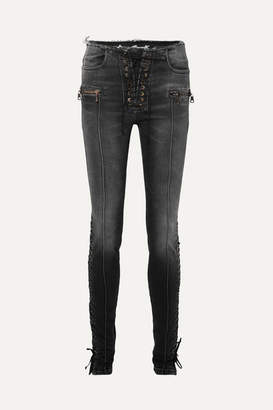 Unravel Project Lace-up High-rise Skinny Jeans - Black
