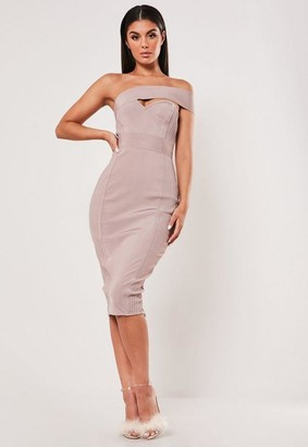 Missguided Petite Premium Mauve Bandage One Shoulder Ribbed Midi Dress