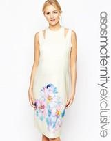 Asos Scuba Body-Conscious Dress In Large Bloom Print