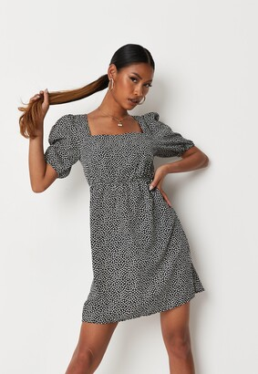 Missguided Black Floral Square Neck Puff Sleeve A Line Dress