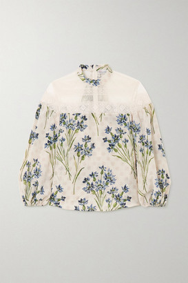 RED Valentino Lace-trimmed Point D'esprit Tulle And Floral-print Silk Blouse - Beige
