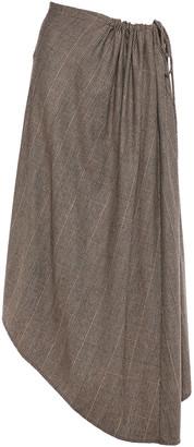 Co Asymmetric Checked Woven Midi Skirt